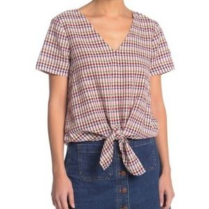 MADEWELL Novel Tie Front Blouse